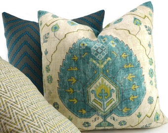 Turquoise & Green Ikat Medallion Pillow Cover, Throw Pillow Cover, 20x20, Boho Chic Pillow Cover, Southwest Print