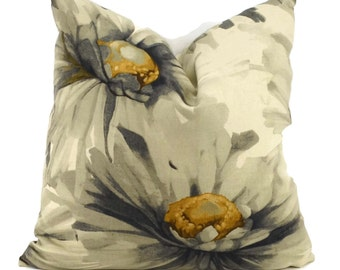 SALE! Throw Pillow Cover, Taupe, Gray & Gold Sunflower Print Pillow Cover, Contemporary Flora Pillow, Large Flower Pillow, 20x20