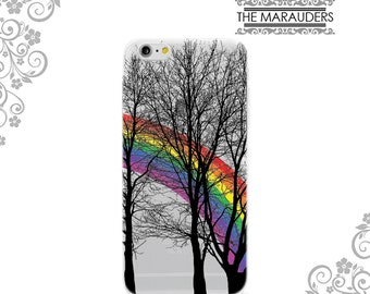 Rainbow in Forest Trees Soft Flexible iPhone Case Clear  iPhone 7,7Plus Case Galaxy S6 S7 Edge Note 4,5 iPhone 4,5,6,6 Plus Case