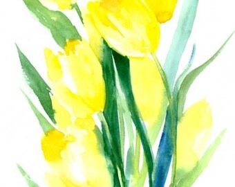 Yellow Tulips original watercolor painting 10 X 16 in yellow green floral abstract wall art