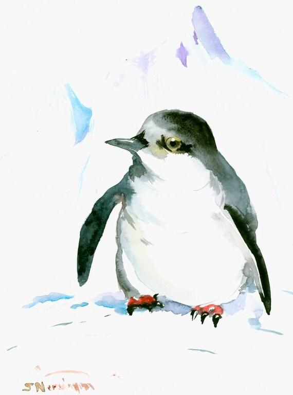 Cute penguin original watercolor painting for Cute watercolor paintings