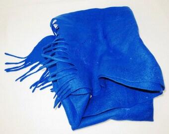 Handmade blue ,  Felted Scarf . Wool . Felted wool scarf Stole