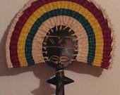 """Ghanaian fertility doll/fan combo (Asante """"akua'ba"""")         FREE DOMESTIC SHIPPING"""