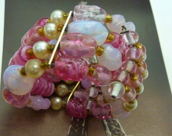 PINK  vintage pearls and pink art glass beads multi strand memory wire bracelet