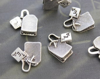 8 Teabag charms ( double sided and 3D ) 15 x 15mm tibetan silver