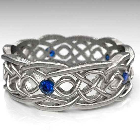 Celtic Wedding Ring With Cut-Through Infinity Symbol Pattern With Blue Sapphire Stones in Sterling Silver, Made in Your Size CR-1049