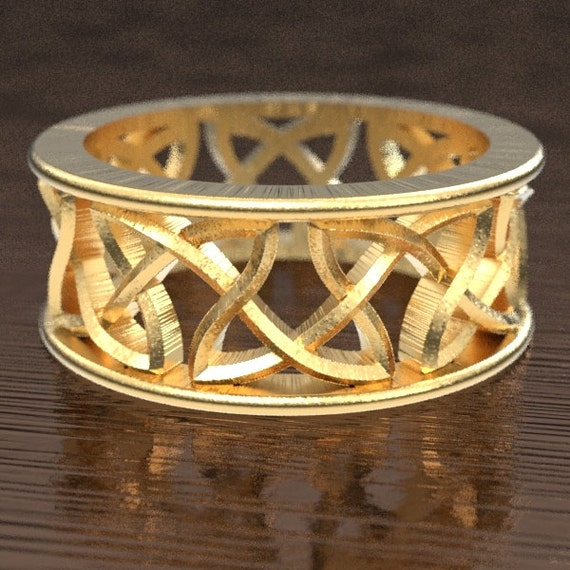 Knotwork Wedding Ring With Cut-Through Celtic Design in 10K 14K 18K Gold, Palladium or Platinum, Made in Your Size CR-26