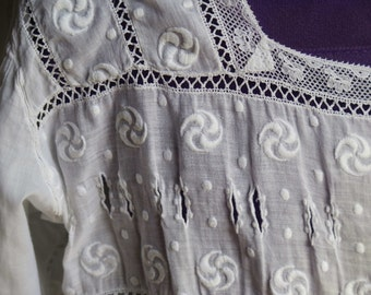 Antique-Beautiful Fine Handmade Blouse from France-Embroideries-Lace.