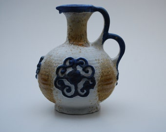 White and blue double handled Marei Keramik Fat Lava vase