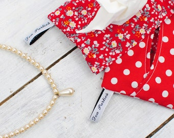 Red Pocket Tissue Holder | Handbag Accessory | Travel accessory | Polka Dot | Floral | Gift for her | Mother of the bride | Wedding gift