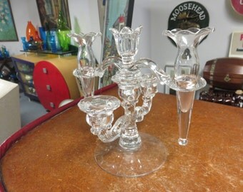 Vintage  4 pc Cambridge Caprice Triple Candle Holder with Epergne Peg Vases