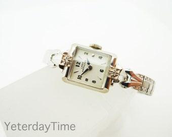 Lady Hamilton Tanya Ladies Watch 1950's American 19 Jewel Manual Wind Movement 10K White Gold & Diamond Case
