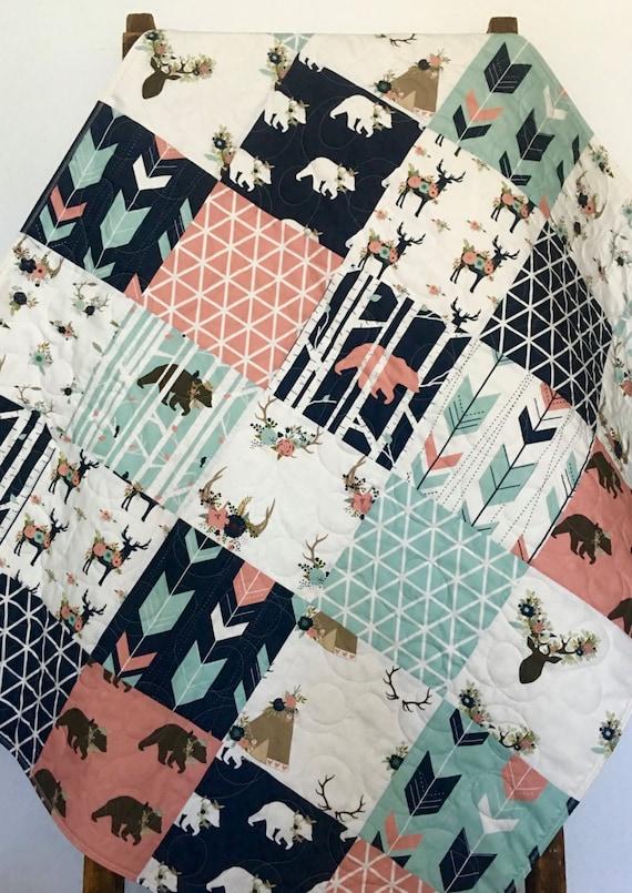 Baby Quilt Girl Woodland Nursery Bedding Crib Bedding By