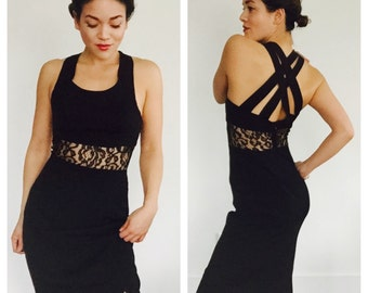 VTG sheer lace midsection long dress 4