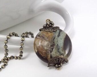 SALE 25% OFF Antique Brass Necklace - Large Snakeskin Jasper Bead Pendant