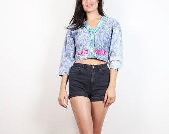 Vintage 80s New Wave Acid Wash Denim Jacket Pink Teal Blue Crop Top 1980s Hipster Chambray Shirt Cropped Coat Mini Jean Jacket S M Medium