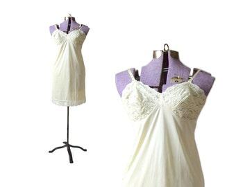 Vintage Slip, Lace Slip / 36 Full Slip / Vintage 1950s Yellow Slip / 50s Lace Slip / Sleepwear and Intimates / Womens Clothing Lingerie