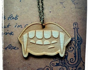 True Blood Inspired Wooden Vampire Mouth Necklace