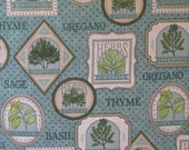 Cotton Fabric, Teal Herb Labels, Quilting Treasures, Herb Garden, Quilting Fabric, Craft Fabric