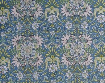 Cotton Fabric, Quilting Fabric,  Craft Fabric , Lydia , Quilting Treasures , Blue and Green Floral , Coordinating Fabrics