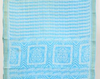 Printed Blue Fabric Vintage Indian Textile Drapery Crafting Saree Sari   TP3267