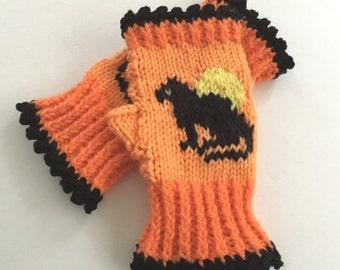 Cat Fingerless Gloves, Halloween Mitts, Hand Knit Gloves, Cat and Full Moon Gloves, Wrist Warmers, Women's Gloves, Orange and Black Gloves,