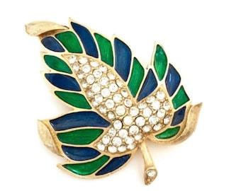Weiss Leaf Enamel Rhinestone Brooch, Sapphire Blue and Emerald Green Enamel, Pave Ice Crystal, Dimensional, Statement PIece, Designer Signed