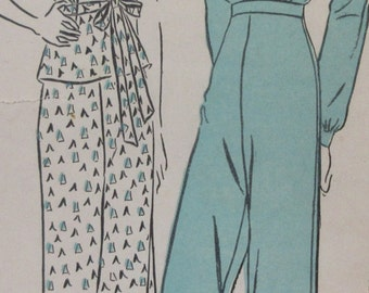 Vintage 1938 Advance Sewing Pattern Misses Two Piece Pajamas  Size 12 Bust 30 Hip 33 #1958 **Epsteam