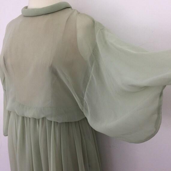 Vintage Jean Varon dress sheer chiffon sage green floaty caped sleeves John Bates folk boho 1970s 1980s UK 14 maxi dress hippie