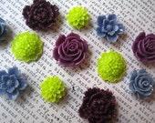 12 Magnets in Plum, Lime Green, Cornflower Blue, Flower Magnets, Locker Magnets, Office Supply, Hostess Gifts, Wedding Favors