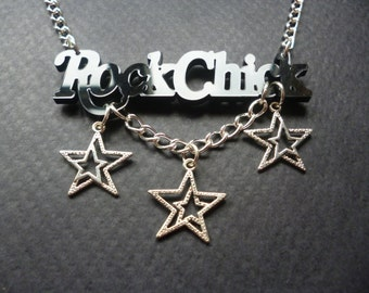 RockChick necklace ~ Rock Chic jewelry ~ RockChick black acrylic pendant ~ Rock n Roll jewelry