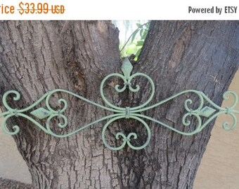 ON SALE TODAY Fleur de Lis Metal Wall Decor / Scrolled Wrought Iron Wall Art / Indoor Outdoor Wall Hanging / Sage Green or Pick Color / Shab