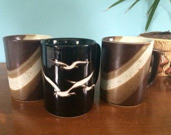 Set of 3 Vintage Mugs with Seagull and Wave designs, 4""