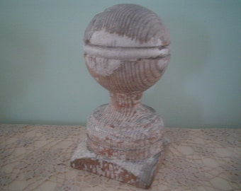 Large Wooden Finial with Chippy Shabby Paint - Salvage