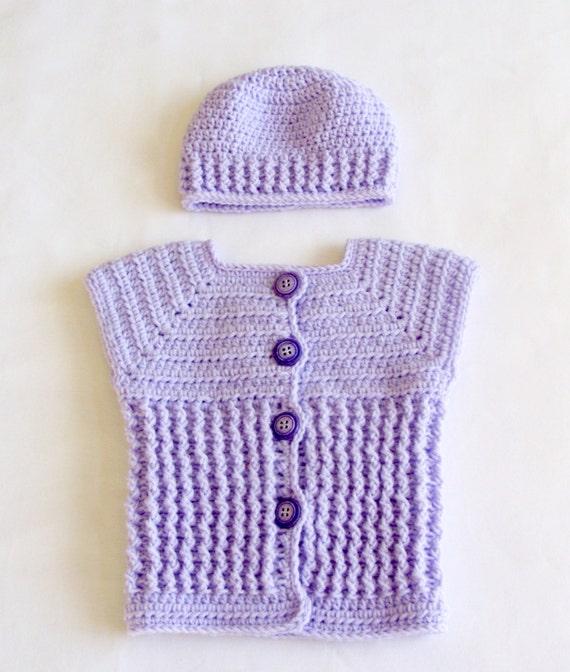 Crochet Baby Waistcoat Pattern : Baby Girl Sweater Vest and Hat Set Crochet PATTERN Baby
