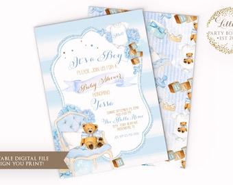 Teddy Bear Baby shower Invitation, Babyshower, Teddy Bear Baby Shower Invite, Bear, Boy Teddy Bear Baby Shower Invite - YOU PRINT