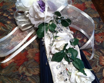 Wedding Broom with Embroidered Satin Accent