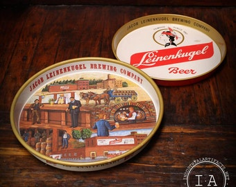 Lot of 2 Vintage Leinenkugel Brewing Company Metal Beer Trays