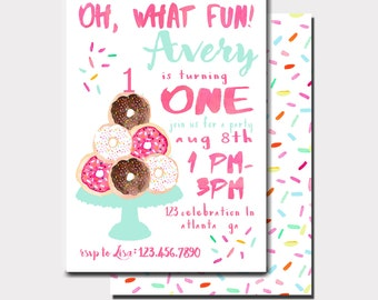 Donut Birthday Invitation | Donut Invitation | Donuts and Pajamas | Sweet Celebration | First Birthday