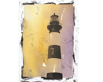 Bodie Island lighthouse- Outer Banks, North Carolina.  Lighthouse art.  Lighthouse painting fine art watercolor landscape print home decor