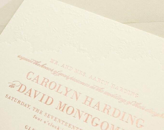 Rose Gold Foil Invitations, Blind Letterpress Lace Wedding Invites, Rose Gold Foil Stamp and Letterpress Invitation | SAMPLE | Delicate
