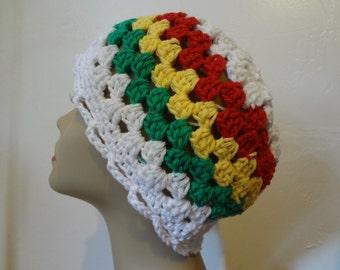 COTTON - Granny Square Beanie - Summer Beanie - Rasta Colors - All Sizes - Handmade - Crocheted Beanie