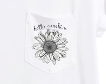 Hello Sunshine Handmade White T-shirt with Pocket and Flower
