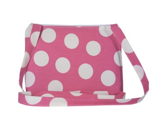 Small Cross Body Bag/ Messenger Bag/ Pink with white dots.