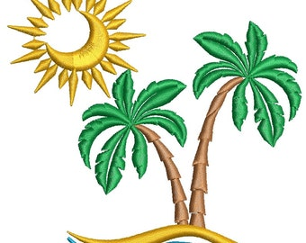 Tropical island  Embroidery Design instantly download