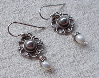 Small Sterling and Freshwater Pearl Drop Earrings  1937