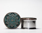 Clearance: Vintage Style Green and Copper Snowflake Pattern Plugs, gauges    5/8, 3/4