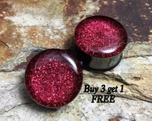 Ruby Red Glitter Plugs, gauges   6g, 4g, 2g, 0g, 00g, 7/16, 1/2, 9/16, 5/8, 3/4, 7/8, 1 inch