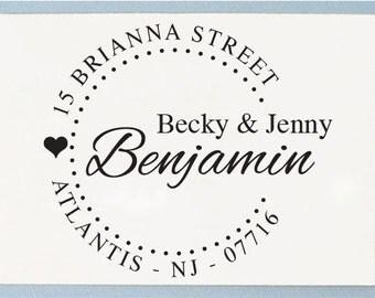 Custom Self Inking Return Address Stamp - Personalized Love Wedding Design Stamp - R21