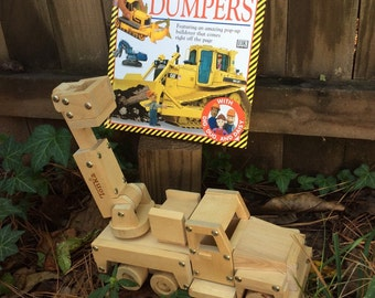 Pop Out and Drive Away Diggers and Dumpers book and Tonka cherry picker wood model